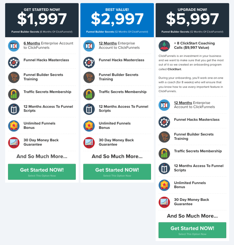 the Funnel Builder Secrets pricing table