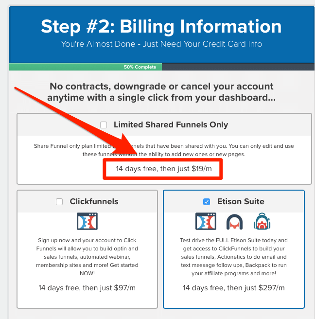the signup form for the $19 per month plan with ClickFunnels