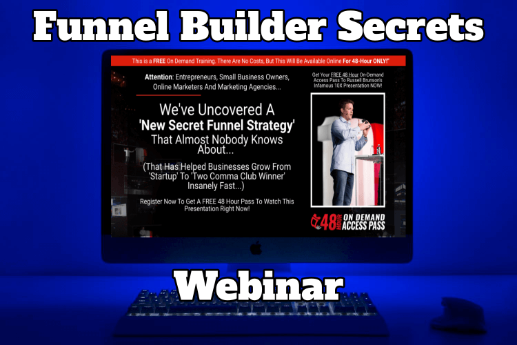 A computer screen showing the Funnel Builder Secrets Webinar