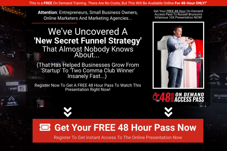 The secret funnel strategy landing page to join the free webinar