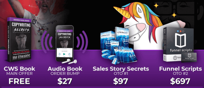 The Copywriting Secrets book funnel and up-sells
