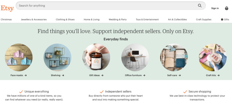 The ETSY affiliate website
